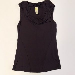 Anthropologie Draped Sleeveless Shirt - Eggplant